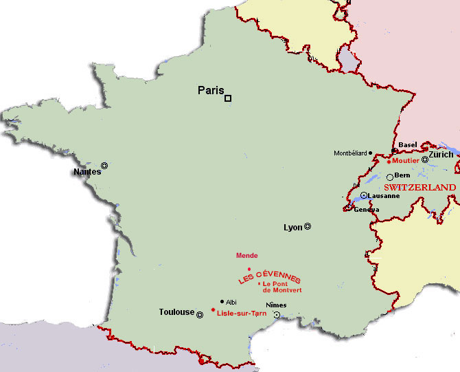 map of france and switzerland