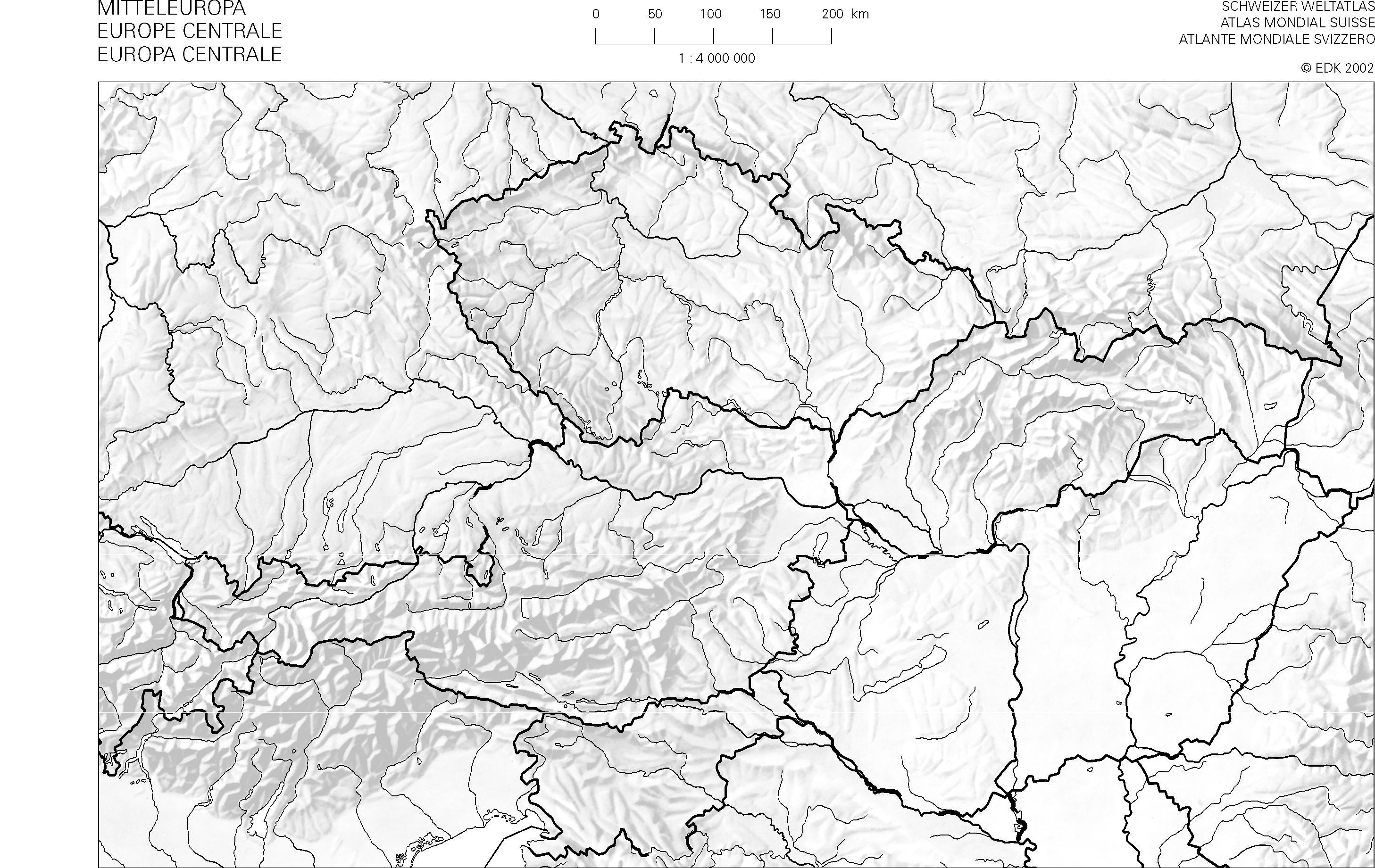 Cartina Muta Europa Centrale.Swisseduc Geographie Atlas Kopiervorlagen