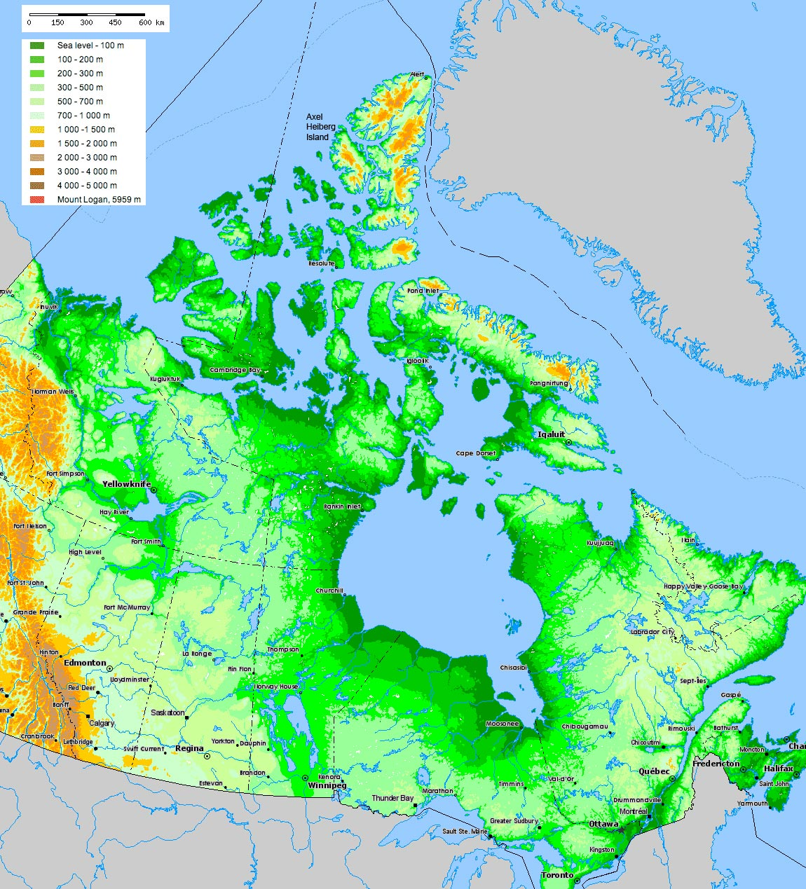 SwissEduc Glaciers Online Axel Heiberg - Labelled map of canada