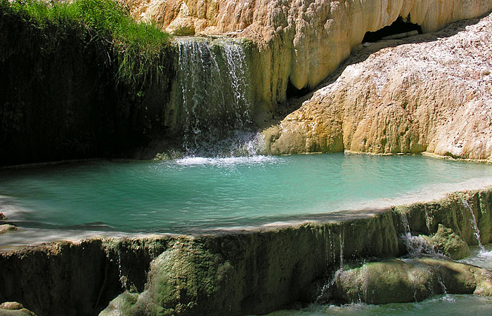 travertine deposits of hot springs near monte amiata