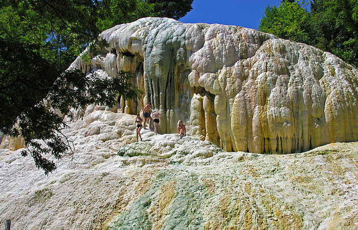 travertine deposits of hot springs near monte amiata