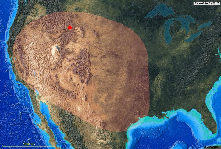 Approximate extent of ash deposits from Yellowstone's giant eruption 630'000